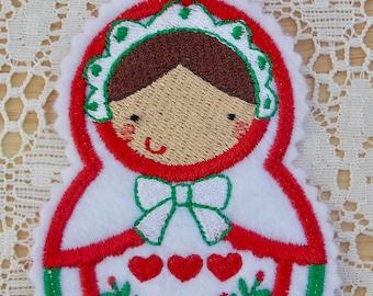 Christmas~Holiday~Gift~Decor~Ornament Traditional Russian Style Mamushka~ Matryoshka~Babushka Doll in Red & Green Machine Embroidered