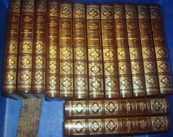 Set of 14 Sir Walter Scott Vinyl covered books by Heron Books.