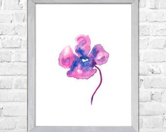 Purple flowers Art, Flower painting, Watercolor flower print, Abstract flower, Flower art, Floral print, Watercolor art, Purple Wall Decor