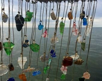 Beachglass Suncatcher Sea Glass Mobile Whimsical Pottery Eco Friendly Decor Lake Erie Beach Wedding  Natural Wood