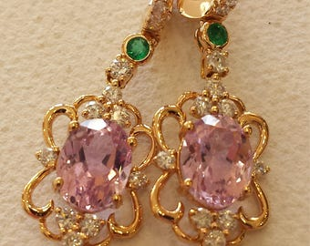 18 K Rose gold diamond, emerald and kunzite earring