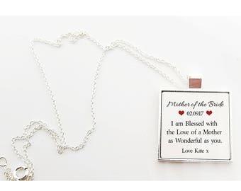 Personalised Wedding Thank You Necklace - Mother of the Bride * Mother of the Groom