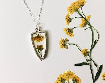 ROOTED: Yellow pressed wildflowers in silver artisan pendant necklace with sterling silver chain