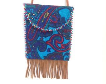 Necklace pouch card holder purse boho hippie paisley blue bead