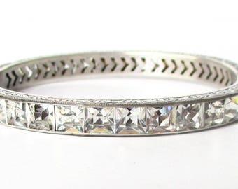1/4-Inch Wide Sterling Silver & Paste Deco Bangle Bracelet