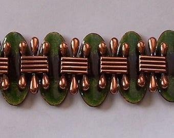 Vintage Signed Matisse Copper and Green Enamel Bracelet