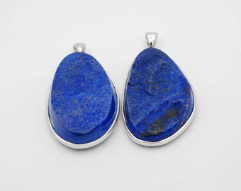 Lapis Lazuli Pendant with Sterling Silver bail, flat back