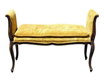 Vintage French Provincial Style Yellow Velvet Carved Wood Armed Bedside Bench
