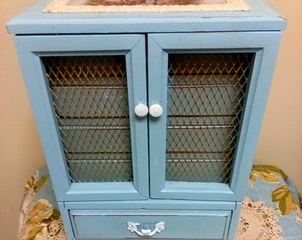 Vintage 5 Drawer Pale Aqua Jewelry Box * Shabby Cottage Chic Jewelry Box * Distressed Jewelry Box * Jewelry Storage *