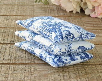 Blue and White Toile Lavender or Balsam Sachets Set of 3, Organic Lavender, Lavender Pillows, Natural Aroma Therapy