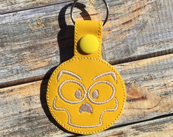 Skull Face Fob - Snap/Rivet Key Fob - DIGITAL Embroidery Design