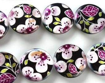 X 3 Pearl puck beads floral purple tone 25mm