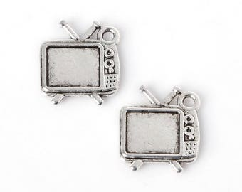 X 3 Silver TV screen Tibetan 13X15mm