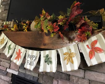 Fall Mantle Decor, Ready to Ship,  Rustic Decor, Fireplace Mantle, Hand-painted Pendant, Fall Foliage, Fabric Garland, Fabric Banner