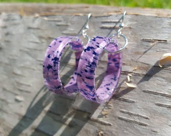 Purple and blue speckled hanging circle earrings