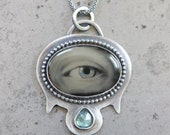 "Very Rare ""Lover's Eye"" Image Pendant, Wet Plate Collodion Image On Black Onyx Stone in Custom Sterling Silver Setting w/ Blue Tourmaline"