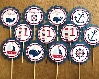 Nautical / Boat Personalised Cupcake Toppers ~ Birthdays. Christening, Baby Shower, Boy party