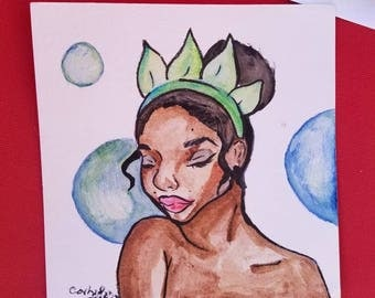 Princess Tiana - Watercolor Portrait