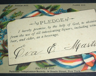 Vintage temperence pledge card, circa 1901