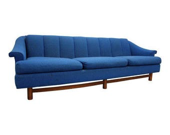 Mid-Century Sofa in Walnut Danish Modern 3-Cushion Blue