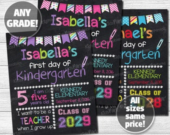 First Day of School Chalkboard Sign, Printable First Day of Kindergarten Sign, Back to School Sign, First Day of Preschool Sign Any Grade