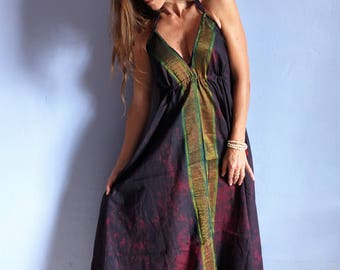 Long summer dress ethnic purple tye die back, beach