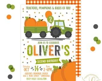 Pumpkin Invitation | Tractor Invitation | Pumpkin Party | Tractor Party | Fall Birthday Invitation | Pumpkin Patch Invitation