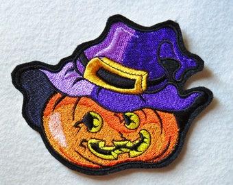 Jack O Lantern Pumpkin Witch Iron On Patch,  Halloween Iron On Patch, Pumpkin Patch, Witch Patch, Iron On Patch