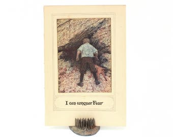 Antique Childrens Book Page - I Can Conquer Fear - Book Print Boy His Dog, Motivational Quote Conquering Fear, Display Print, Collage Supply
