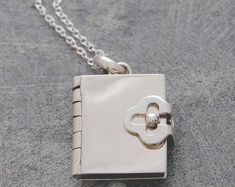 ON SALE NOW Silver Book Locket Pendant (With Four pages to Personalise)