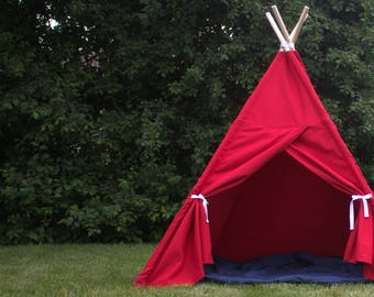 Canvas Kids Teepee Tent, Play Tent, Kids Tepee, Playhouse, Childrens Tent, Kids Gift, Ready to Ship, Ships FULLY ASSEMBLED