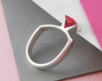 Ruby Ring, Geometric Ring, July Birthstone Ring, Red Cubic Zirconia, Silver Ring, Sterling Silver Ring, Gemstone Ring, Ring Ruby Birthstone