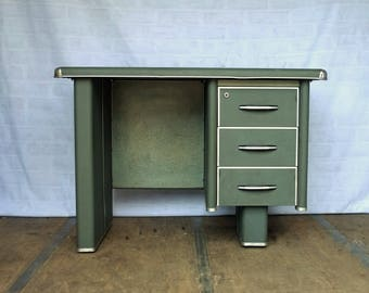 Little Green Art Deco Desk from France - Circa 1920s/30s Vintage Furniture - Study