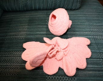 Vintage Pink Knit Doll Beret and Cape