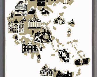 Wall Art-Greece Print-Art Print-Custom Color-Country Map Illustrations-10x8-11x14-12x16-Athens-Thessaloniki-Santorini