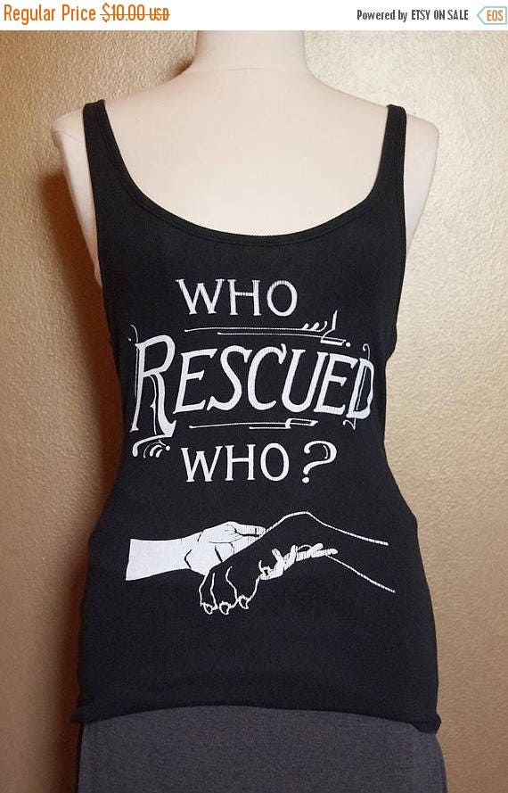 """ON SALE Med """"Who Rescued Who"""" Tank, White Ink on Black"""