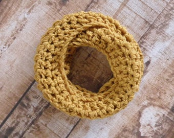 Toddler Infinity Scarf Crochet Scarf Kid's Custom Eternity 72 Colors To Choose From - Matching Boot Cuff Option