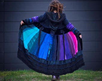 Custom made full length, katwise inspired, pixie/elf coat. Made from upcycled materials.