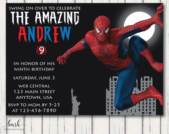 Superhero invitation, Superhero invitation digital, Spiderman Invitation, Spiderman invitation printable, Spiderman birthday printable