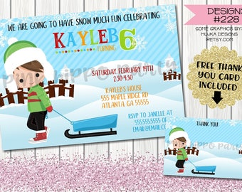 Winter Snow Sledding Boy:Design #228-Children's Birthday Party Digital Invitation File 4x6 or 5x7 Free Thank You Card with Purchase