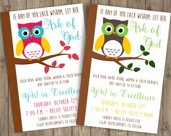 Young Women in Excellence 2017 Invitation, 4x6, Owl, CUSTOMIZED Printable Invitation, Ask of God, YW 2017 Theme