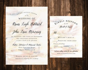 Nude Watercolor Wedding Invitations; Neutral; Simple; Calligraphy; Printable OR set of 25
