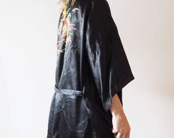 Black kimono with dragon vintage embroidery
