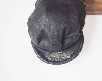 Vintage Biker leather cap