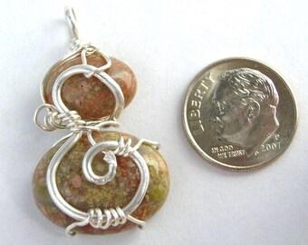 Autumn Jasper double cabochon pendant