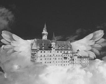 Flying Castle Art Print, Castle Art Print, Surreal Art Print, Digital Art Print, Art Print, Digital Download, Vintage Art Print