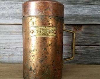 Vintage Copper Cheese Shaker, copper decorations, rustic decor, farmhouse chic