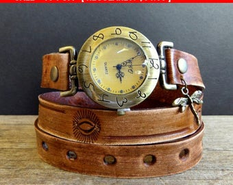 Rustic women's wrist watch, Brown leather watch, Dragonfly watch, Leather wrap watch, wrap bracelet,