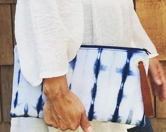 Shibori Large Clutch with leather strap