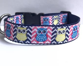 "1"" Chevron and owls collar"